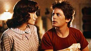 Marty McFly with his teenage mother